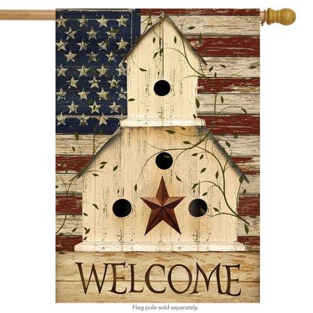 americana welcome house flag primitive patriotic 28