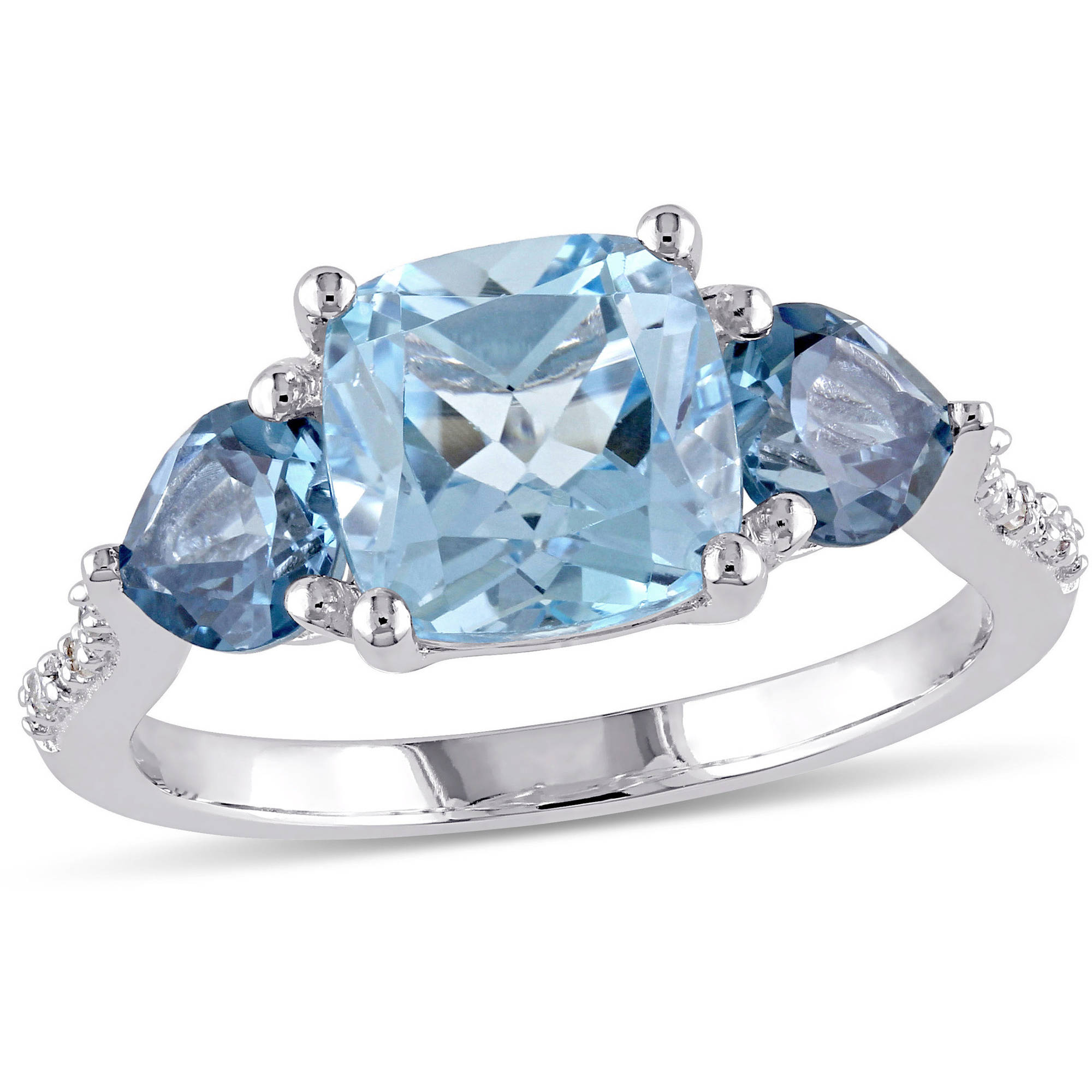 Tangelo 3-1 2 Carat T.G.W. Sky and London Blue Topaz with Diamond-Accent Sterling Silver Three-Stone Ring by Tangelo