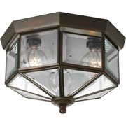 "Three-Light Beveled Glass 9-3/4"" Close-to-Ceiling"
