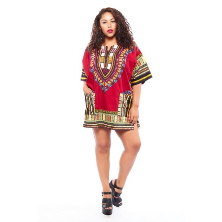 Womens Plus Beautiful Tradional Fashion Loose Dashiki Dress DashikiDress-Plus