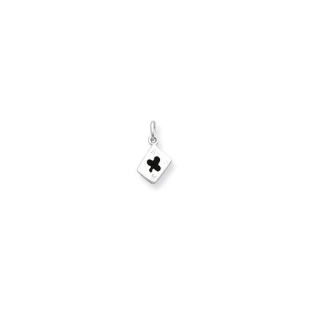 Sterling Silver Enameled Ace Of Clubs Card (Enameled Club Card)