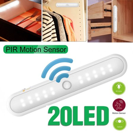 Cordless 20 LED Motion Sensor Closet Lights Under Cabinet Lightening Stick-on Anywhere Wireless Battery Operated LED Night Light Bar PIR Safe Lights For Closet Cabinet