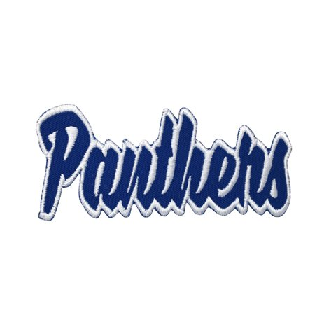 Panthers - Royal Blue/White - Team Mascot - Words/Names - Iron on Applique/Embroidered - Panther Mascot