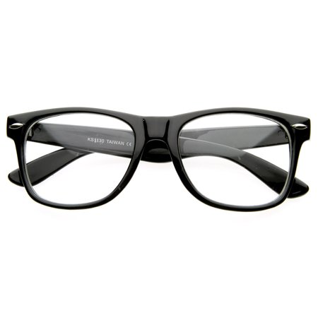 Vintage Inspired Eyewear Original Geek Nerd Clear Lens Horned Rim Glasses - (Geek Designer Glasses)
