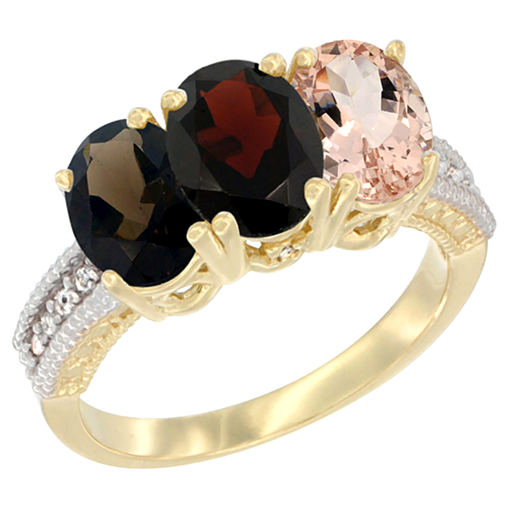 14K Yellow Gold Natural Smoky Topaz, Garnet & Morganite Ring 3-Stone 7x5 mm Oval Diamond Accent, sizes 5 - 10