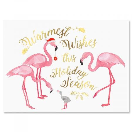 Flamingo Deluxe Nonpersonalized Christmas Cards - Set of 14