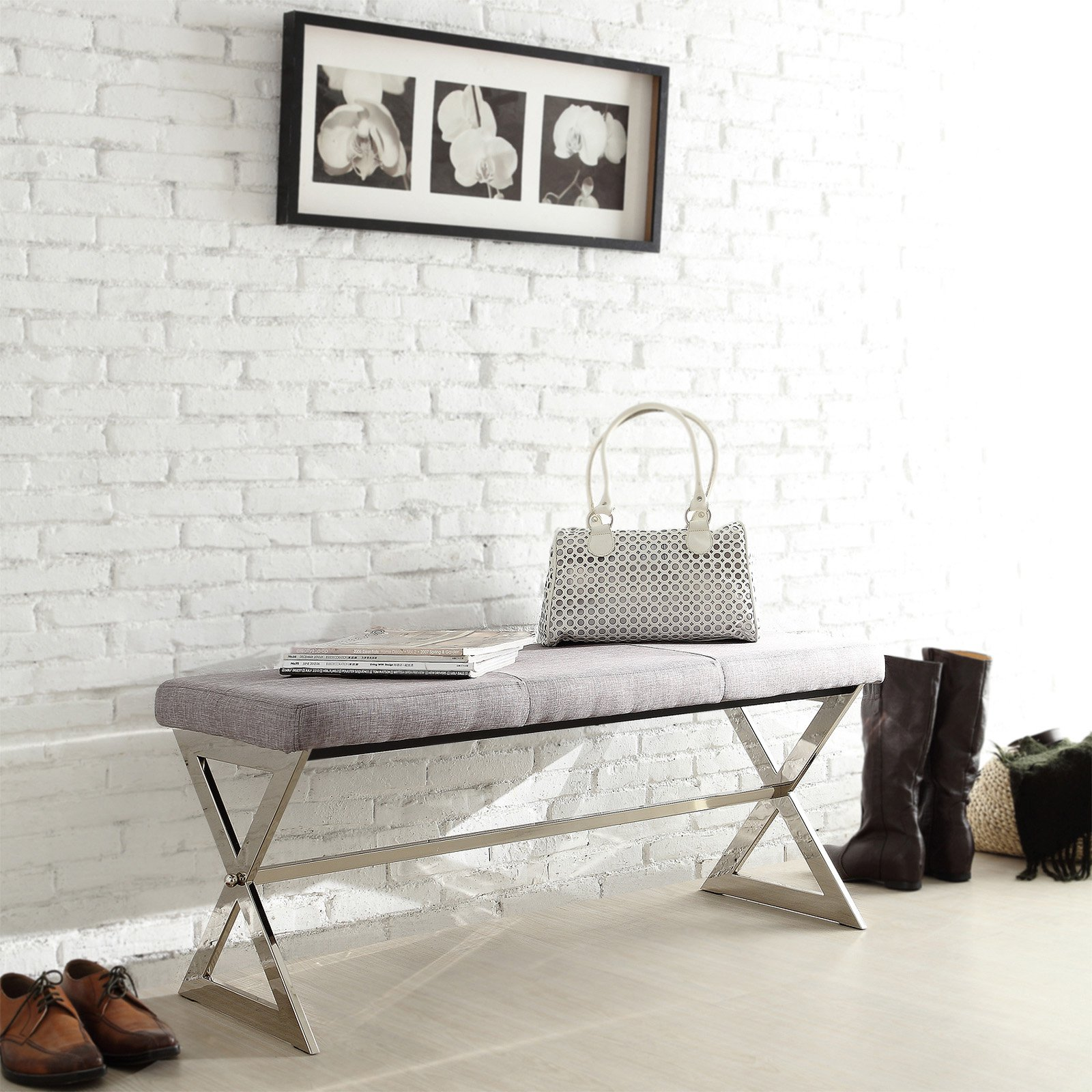 Chelsea Lane 40 in. X-Base Gray Linen Bench