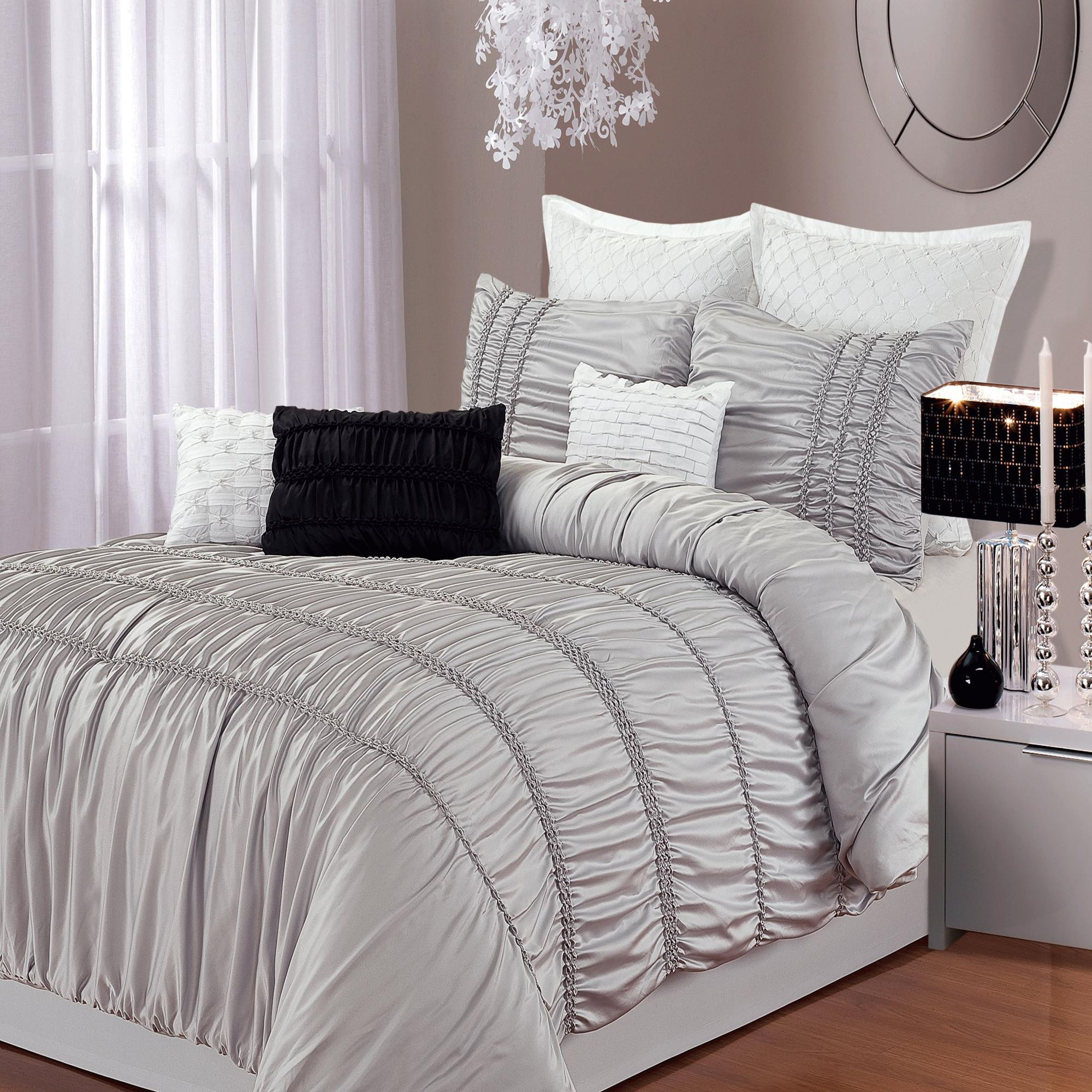 Romantica Silver 5 Piece Comforter Bed In A Bag Set