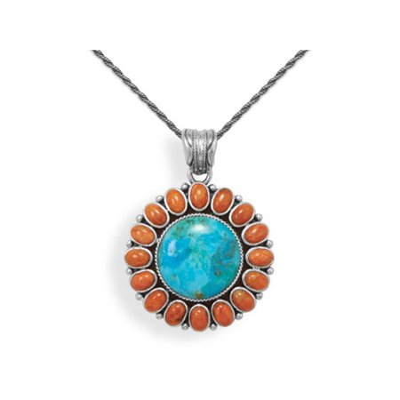 Reconstituted Turquoise and Red Coral Sun Pendant Antiqued Sterling Silver, 16