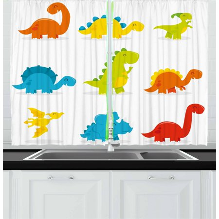 Dinosaur Curtains 2 Panels Set, Cute and Funny Dinosaurs Set Cartoon Style Colorful Collection Kids Nursery Theme, Window Drapes for Living Room Bedroom, 55W X 39L Inches, Multicolor, by Ambesonne ()