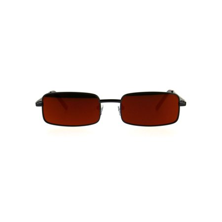 Mens Retro Vintage Narrow Rectangular OG Mirror Lens Sunglasses Gunmetal Orange