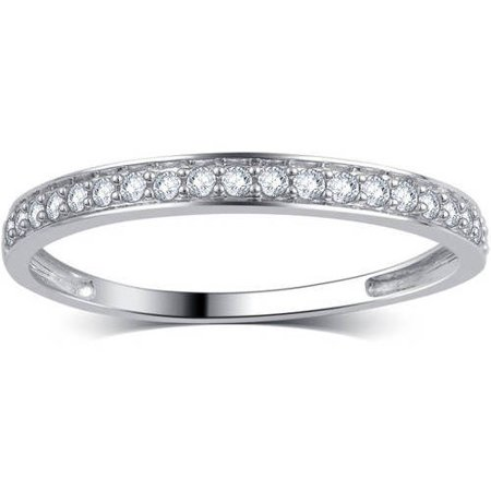 1/5 Carat T.W. Round Diamond 10kt White Gold Wedding Band, (Unique Diamond Wedding Band)