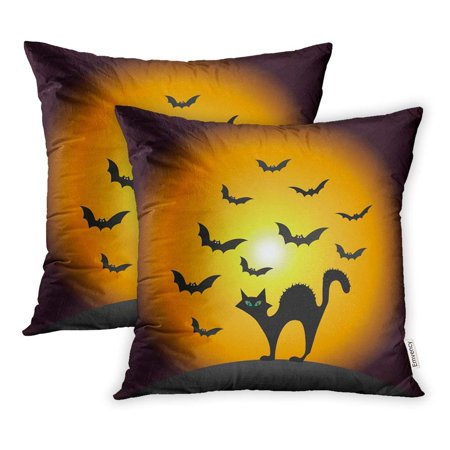 ARHOME Green Silhouette Halloween Scary Cat Bats Orange Autumn Beautiful Black Pillowcase Cushion Cover 18x18 inch, Set of 2