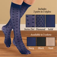Stylish & Comfortable 15-20mmHg Compression Knee High Stockings, 3 Pairs - Made in USA, Black, Queen - Made in the USA