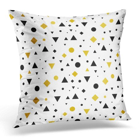 USART Yellow Mustard Gold Black and White Vintage Geometric Shapes Pattern Perfect Packaging Abstract Pillow Case Pillow Cover 20x20 inch