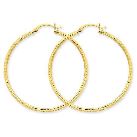 Medium Diamond Cut Hoop Earrings in 14K Yellow Gold 1 1/2 Inch (2.00 mm) - image 1 of 1