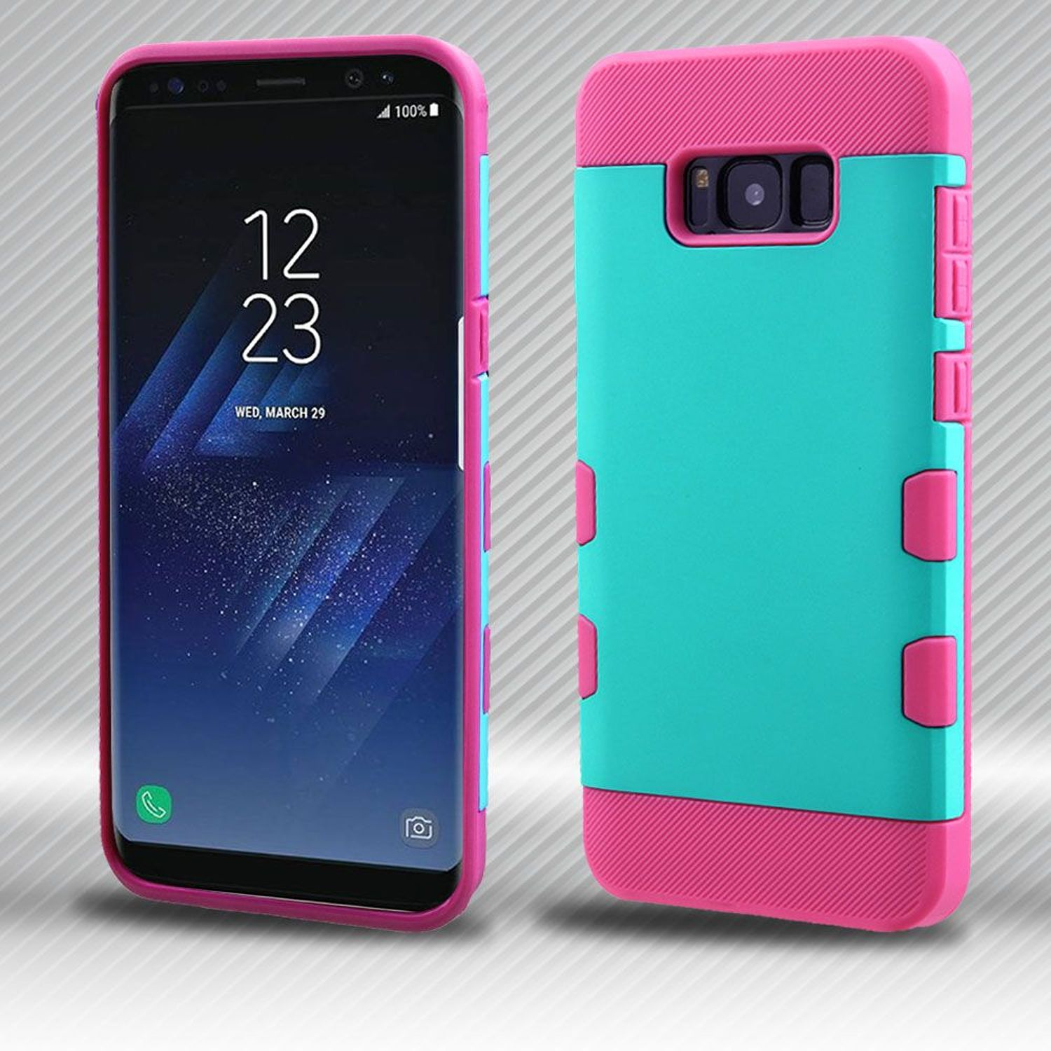 Insten Tuff Dual Layer [Shock Absorbing] Hybrid Hard Plastic/Soft TPU Rubber Case Phone Cover For Samsung Galaxy S8 Plus S8+, Teal/Hot Pink
