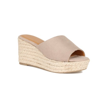Women Faux Suede Open Toe Espadrille Platform Wedge Mule Sandal 18633 Black Suede Platform Sandals