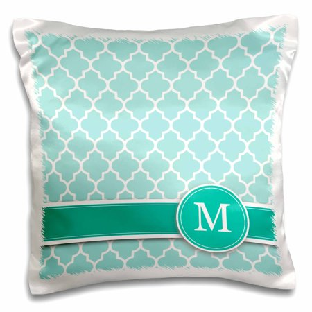 3dRose Personalized letter M aqua blue quatrefoil pattern Teal turquoise mint monogrammed personal initial, Pillow Case, 16 by 16-inch (Monogram M)