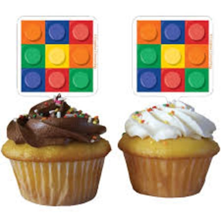 Club Pack of 144 Multicolor Square Birthday Block Party Cupcake Toppers
