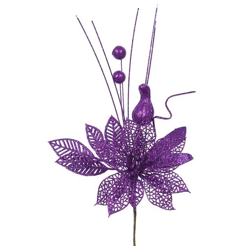 The Holiday Aisle Poinsettia and Ball Decorative Christmas Pick (Set of 12)