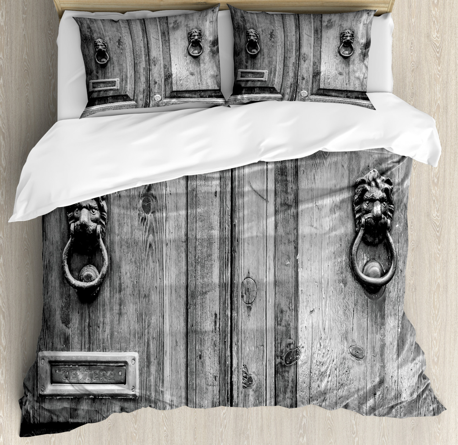 Rustic Duvet Cover Set Black And White Photography Of Tuscany House Doorway Florence With Lion Head Handlers Decorative Bedding Set With Pillow Shams Grey By Ambesonne Walmart Com Walmart Com