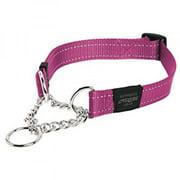 Rogz Utility Extra Large 1 Lumberjack Half-Check Reflective Dog Collar, Pink