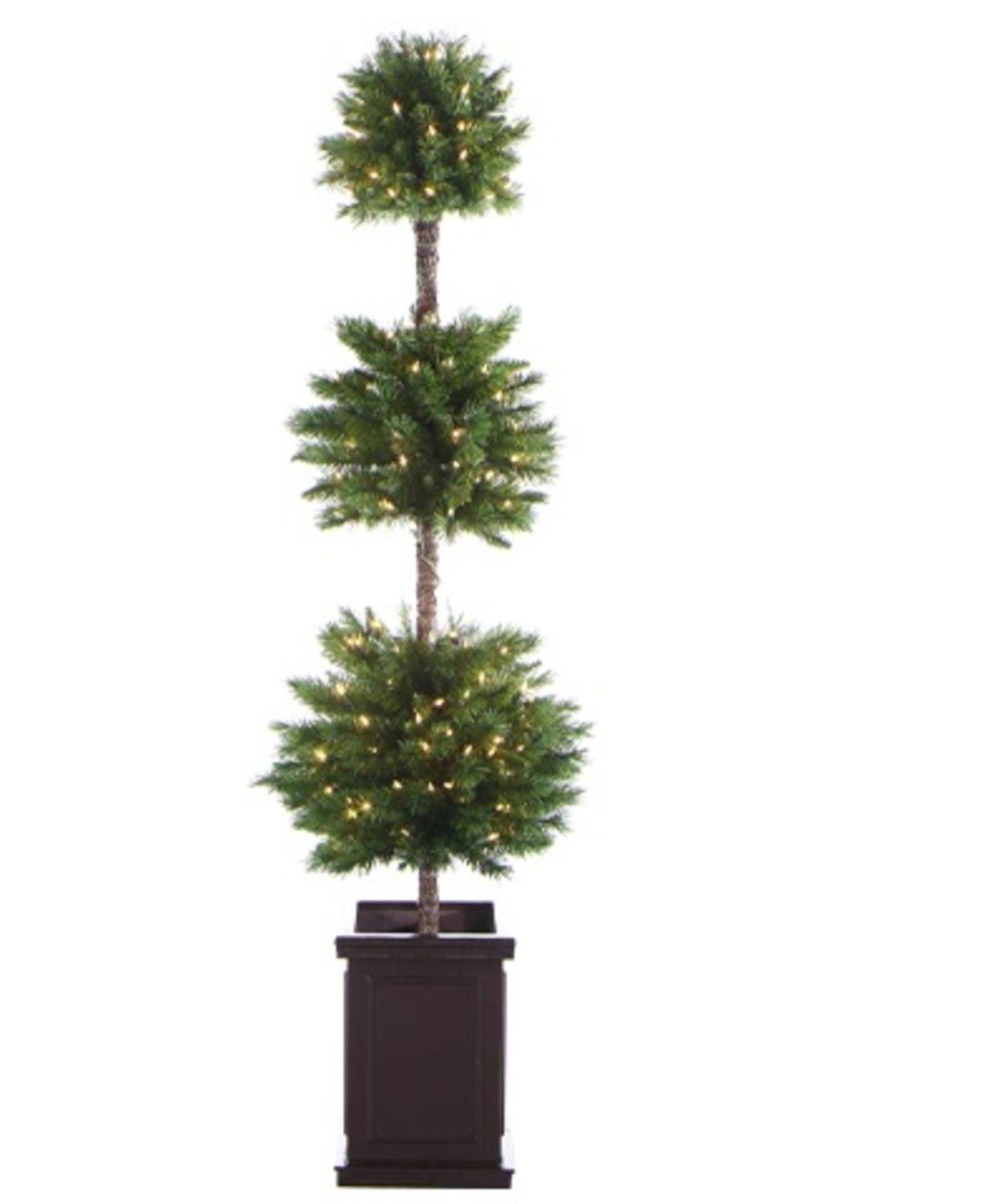 6 Pre Lit Potted Triple Ball Artificial Christmas Topiary Tree Clear Lights Walmart Canada