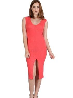 Fashion House LA Women's Sleeveless, V-shaped neckline, Ribbed, Midi Dress with Front Slit Dark Coral Small