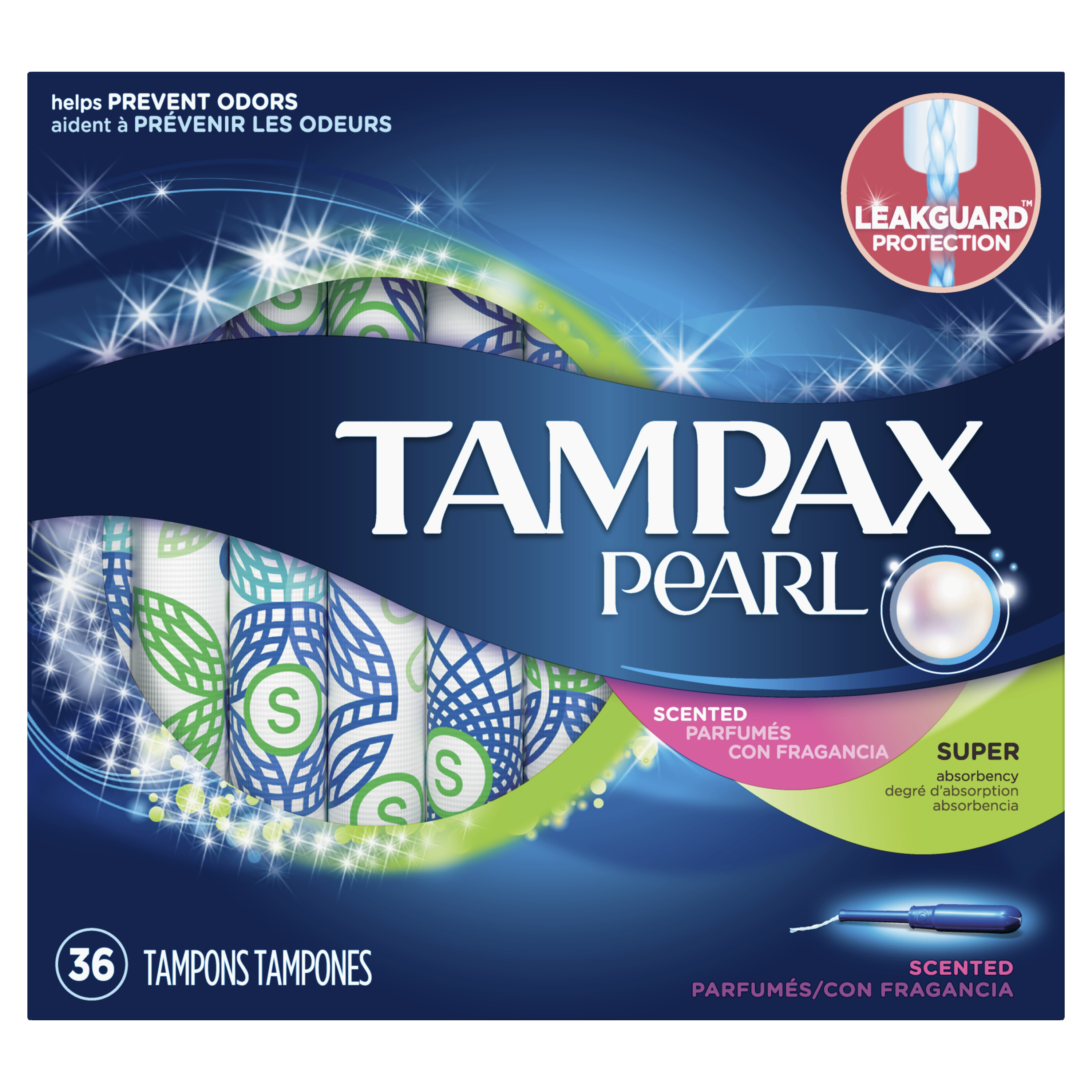Tampax Pearl Super Plastic Tampons, Scented, 36 Count