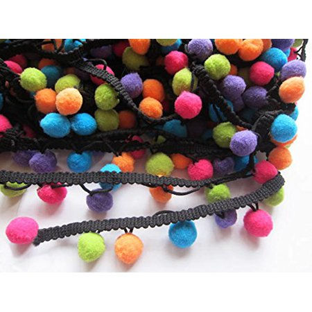 YYCRAFT Multicolor Pom Pom Ball fringe Trim Ribbon Sewing(5