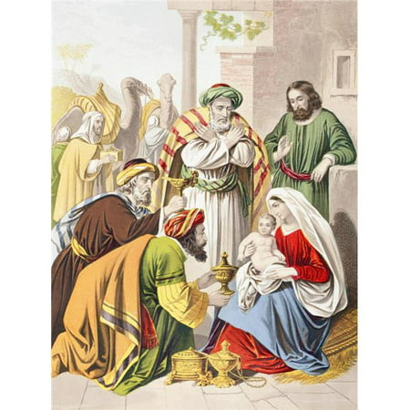 Nativity Scene. The Three Wise Men with The Holy Family. One Presents A Gift to The Infant Jesus From The Holy Bible Published By William Collins, Sons, & Company In 1869 Chromolithograph By J (3 Wise Men Gifts)