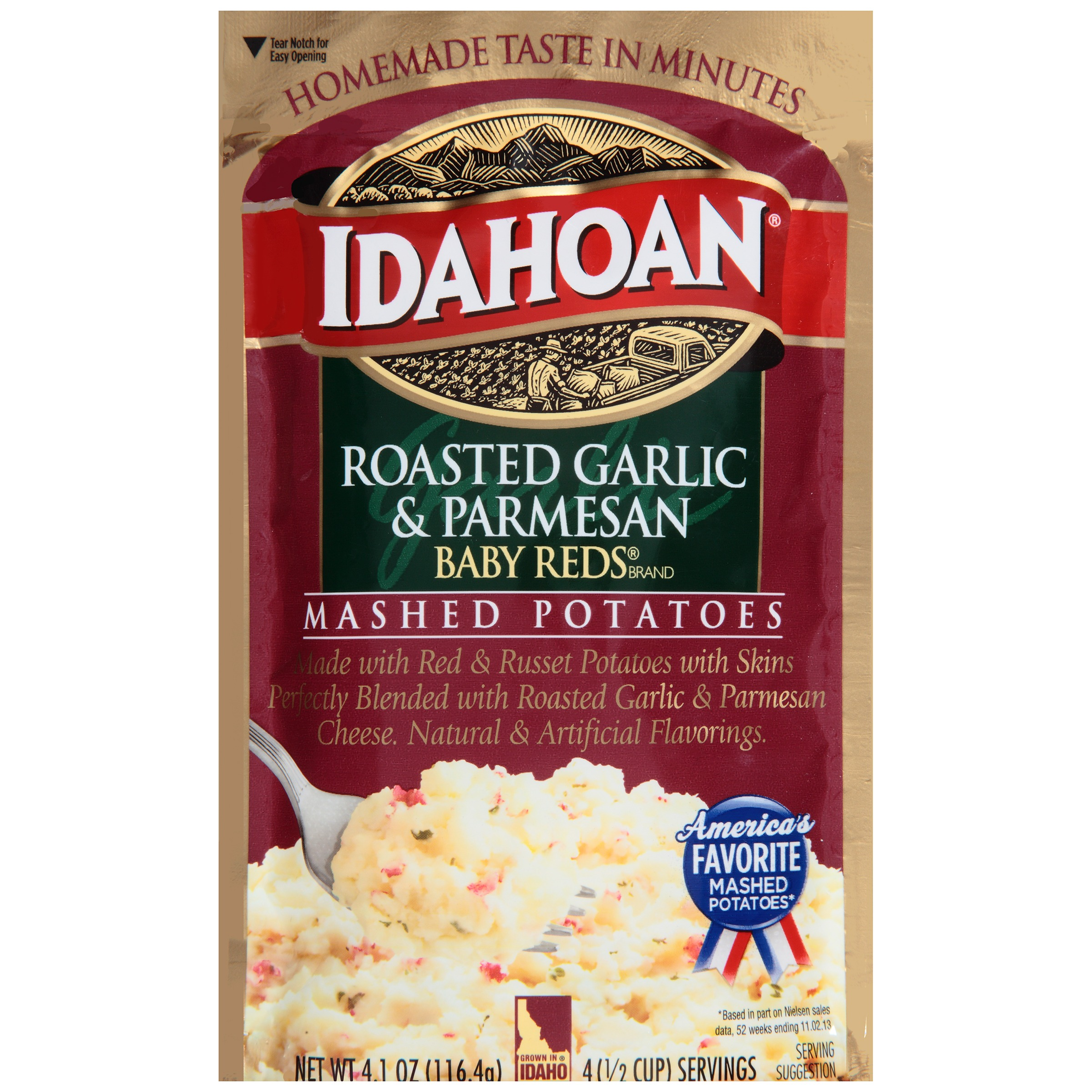Idahoan Baby Reds Brand Roasted Garlic & Parmesan Mashed Potatoes 4.1 oz. Pouch by Idahoan Foods, LLC
