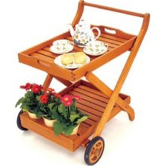 Outdoor Serving Cart Natural Oiled by Convenience Concepts