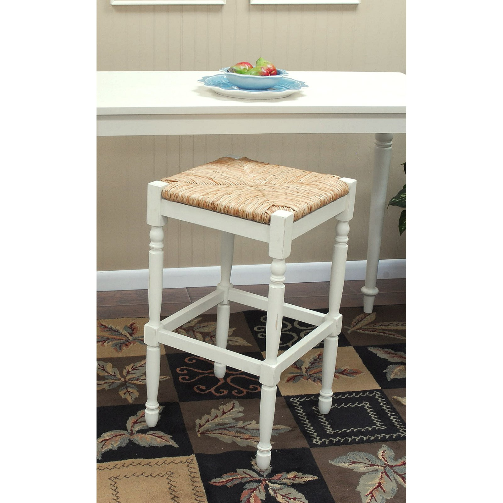 Bar Stool Antique White With Rush Seat