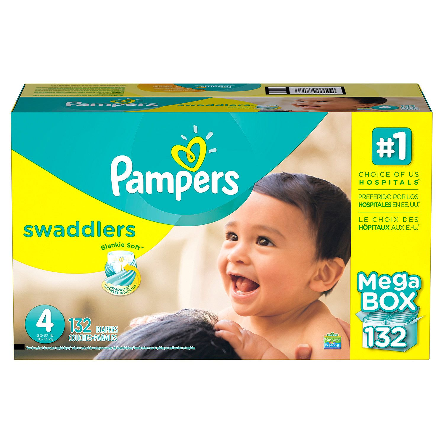 Pampers' Swaddlers Diapers Size 4 - 132 ct. ( Weight 22- 37 lb.) - Bulk Qty, Free Shipping - Comfortable, Soft, No leaking & Good nite Diapers