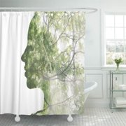 PKNMT Double Exposure Portrait of Attractive Lady Combined with Photograph Tree Be Shower Curtain Bath Curtain 66x72 inch