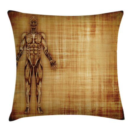 (Human Anatomy Throw Pillow Cushion Cover, Grunge Old Parchment Effect Skeleton Muscles of Human Body Retro Art Print, Decorative Square Accent Pillow Case, 18 X 18 Inches, Light Brown, by Ambesonne)