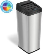 iTouchless 14 Gallon Stainless Steel Rectangular Sensor Trash Can with Retracting Lid