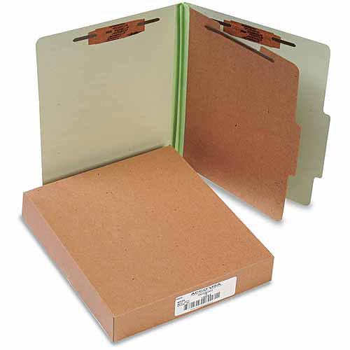 ACCO 25-Point Pressboard Classification Folders, Letter, 4-Section, Leaf Green, 10-Pack