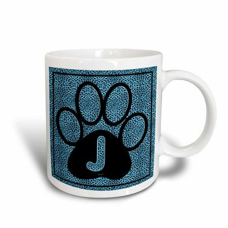 3dRose Letter J Blue Cheetah Print Cat Paw, Ceramic Mug, 15-ounce - Chetta Print