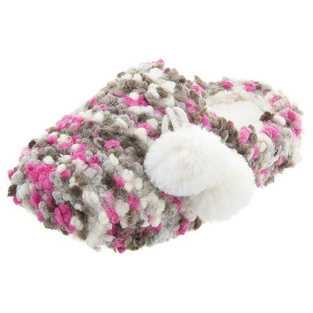 SG Footwear Women's Knit Popcorn Pink Gray Slippers