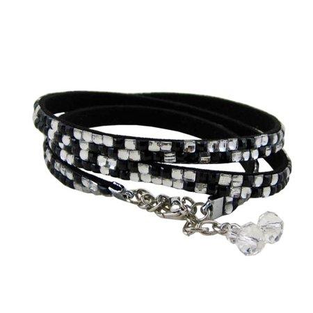 Double Wrap Around Bracelet - Glittering Beads Wrap Around Bracelet Black and White