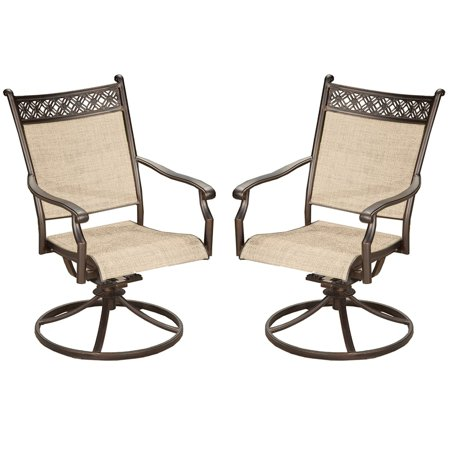 Oakland Living Sling Aluminum Indoor Outdoor Pair of Black and Bronze Swivel - Bronze Swivel Rocker