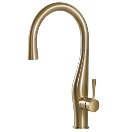 Houzer Vision Hidden Pull Down Kitchen Faucet with CeraDox Technology, Brushed Brass (VISPD-869-BB)