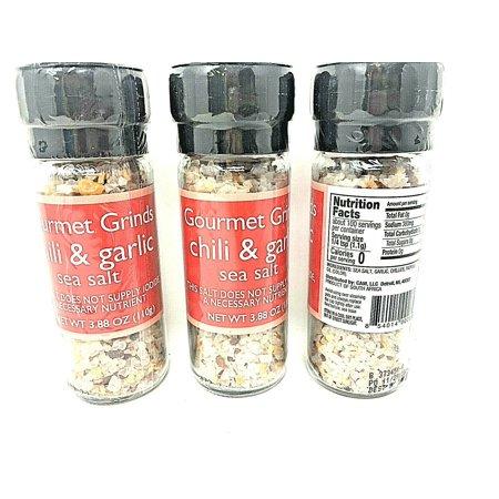 Gourmet Grinds Chili Garlic Sea Salt 3.88 oz Pack of 3 Gourmet Salt Sampler