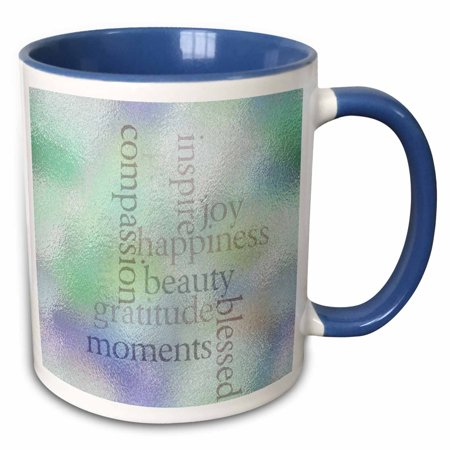 3dRose Inspire Joy and Gratitude Stained Glass- Inspirational- Motivational - Two Tone Blue Mug, 11-ounce