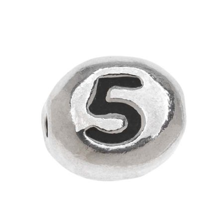 Beaded Antique 5 Piece (Lead-Free Pewter Alphabet Bead, Number '5' 8x7mm Oval, 1 Piece, Antiqued)