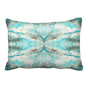 RYLABLUE Bright Vintage Artistic Teal White Gray Paper Watercolor Pattern Polyester 20 x 30 Inch Rectangle Throw Pillow Covers With Hidden Zipper Home Sofa Cushion Decorative Pillowcases