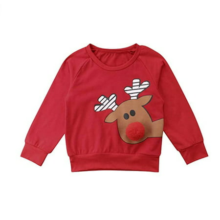 Toddler Kids Baby Girl Boys Christmas Deer Cotton Sleeved Top Blouse T-Shirt Sweatshirts